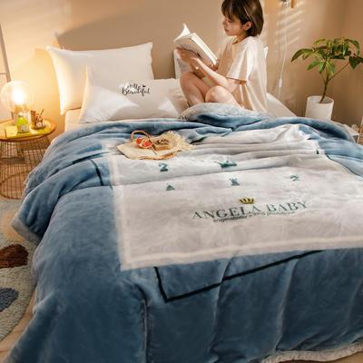 2020新款大版花经编拉舍尔毛毯 加厚双层单人双人毯子秋冬季婚庆盖毯被子 150cmX200cm重量5斤 蓝色星球