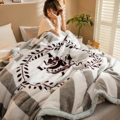2020新款大版花经编拉舍尔毛毯 加厚双层单人双人毯子秋冬季婚庆盖毯被子 150cmX200cm重量5斤 荣耀皇冠