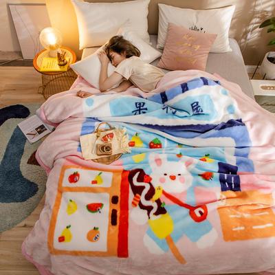 2020新款大版花经编拉舍尔毛毯 加厚双层单人双人毯子秋冬季婚庆盖毯被子 150cmX200cm重量5斤 甜美无比