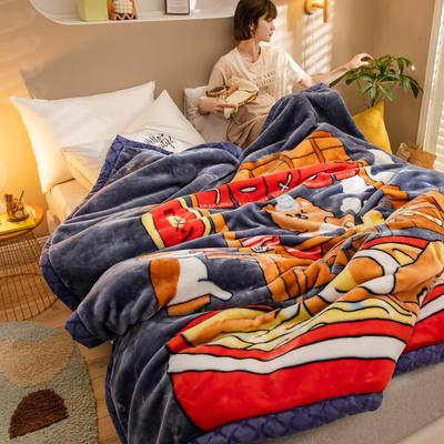 2020新款大版花经编拉舍尔毛毯 加厚双层单人双人毯子秋冬季婚庆盖毯被子 150cmX200cm重量5斤 富士山下