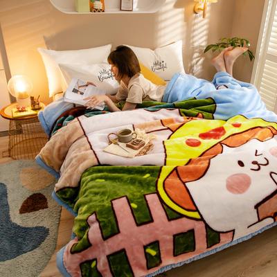2020新款大版花经编拉舍尔毛毯 加厚双层单人双人毯子秋冬季婚庆盖毯被子 150cmX200cm重量5斤 天真无邪
