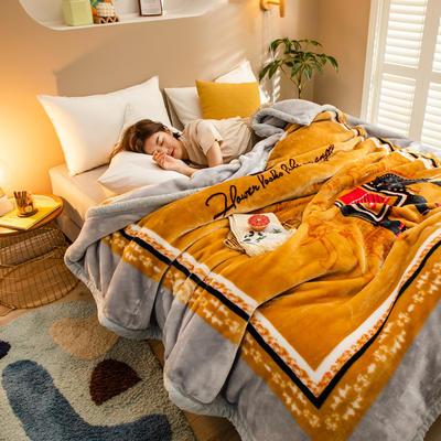 2020新款大版花经编拉舍尔毛毯 加厚双层单人双人毯子秋冬季婚庆盖毯被子 150cmX200cm重量5斤 万象更新