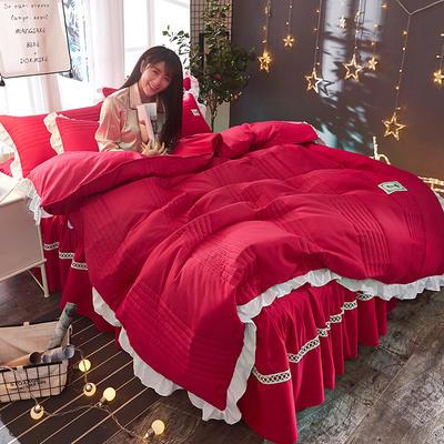 2018韩版多功能四件套 1.5m(5英尺)床(含包装) 玫红