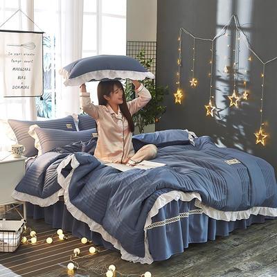 2018韩版多功能四件套 1.5m(5英尺)床(含包装) 深蓝色