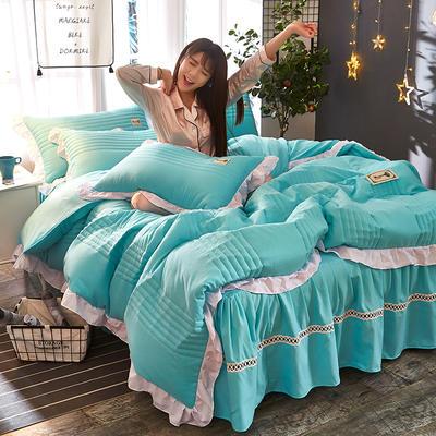 2018韩版多功能四件套 1.8m(6英尺)床(含包装) 水蓝色