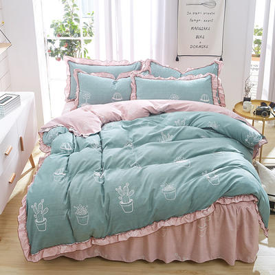 2018斜纹磨绒床裙四件套 1.5m(5英尺)床 星月之梦