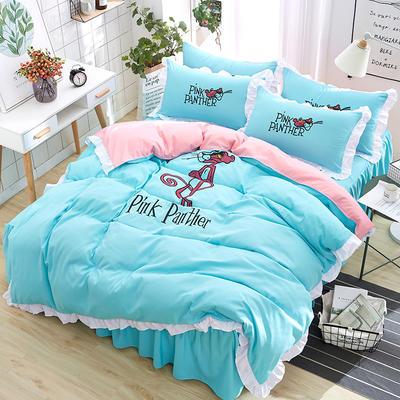 2018新款韩版粉红豹床裙四件套 1.5m(5英尺)床 粉红豹-蓝