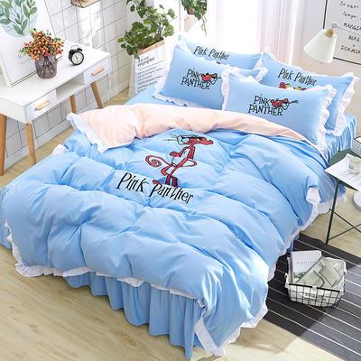 2018新款韩版粉红豹床裙四件套 1.5m(5英尺)床 粉红豹-水蓝