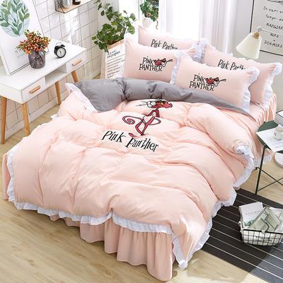 2018新款韩版粉红豹床裙四件套 1.5m(5英尺)床 粉红豹-玉