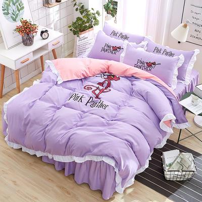 2018新款韩版粉红豹床裙四件套 1.5m(5英尺)床 粉红豹-紫