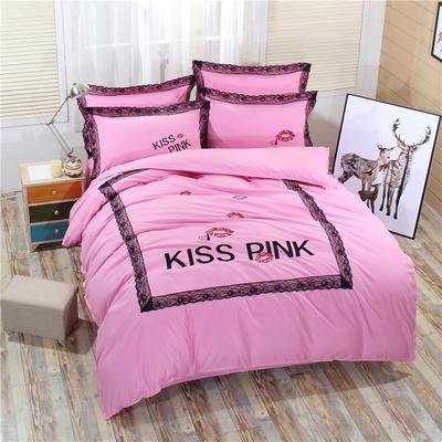 2018新款韩版粉红豹床裙四件套 1.5m(5英尺)床 红唇-粉色