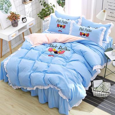 2018新款韩版粉红豹床裙四件套 1.5m(5英尺)床 小猎豹-水蓝