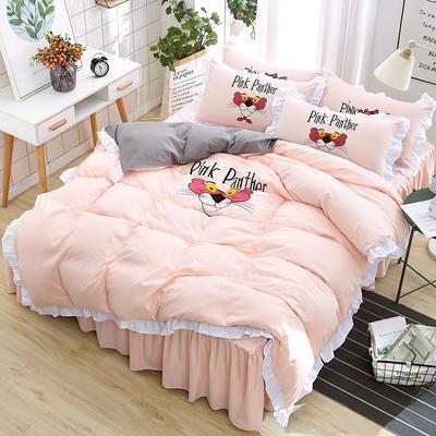 2018新款韩版粉红豹床裙四件套 1.5m(5英尺)床 小猎豹-玉