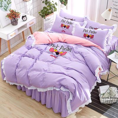 2018新款韩版粉红豹床裙四件套 1.5m(5英尺)床 小猎豹-紫
