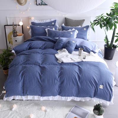 2018新款韩版水洗棉四件套 1.5m(5英尺)床 梦露-蓝