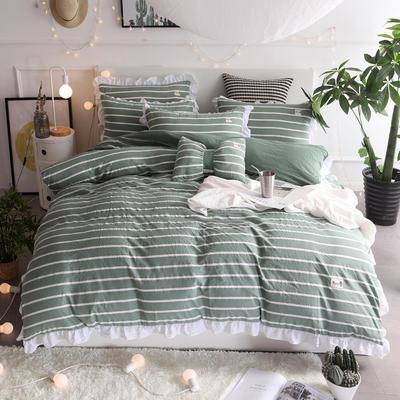 2018新款韩版水洗棉四件套 1.5m(5英尺)床 梦露-墨绿