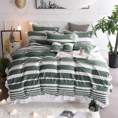 2018新款韩版水洗棉四件套 1.5m(5英尺)床 香妃-墨绿