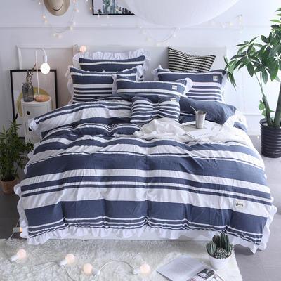 2018新款韩版水洗棉四件套 1.2m(4英尺)床 遇见-蓝