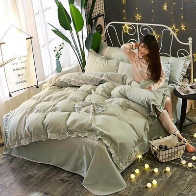 2018韩版纯色蝴蝶结套件四件套 1.5m(5英尺)床 艾绿