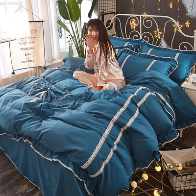 2018韩版纯色蝴蝶结套件四件套 1.5m(5英尺)床 藏蓝