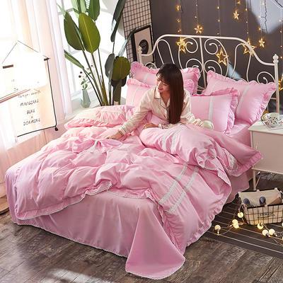 2018韩版纯色蝴蝶结套件四件套 2.0m(6.6英尺)床 粉色