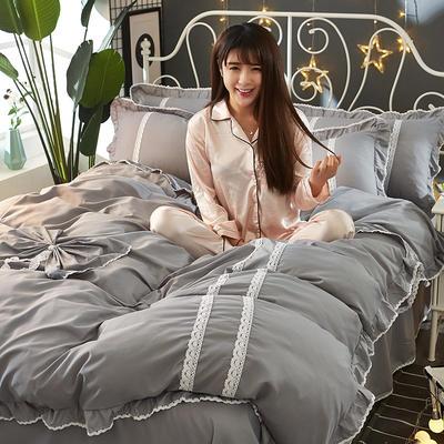 2018韩版纯色蝴蝶结套件四件套 1.5m(5英尺)床 灰色