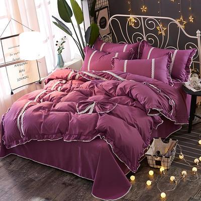 2018韩版纯色蝴蝶结套件四件套 1.8m(6英尺)床 亮紫
