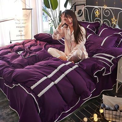 2018韩版纯色蝴蝶结套件四件套 1.5m(5英尺)床 深紫