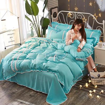 2018韩版纯色蝴蝶结套件四件套 1.5m(5英尺)床 天蓝