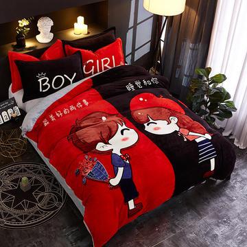 2018新款法莱绒卡通大版床单款床笠款四件套 床单款1.2m(4英尺)床 遇上对的你