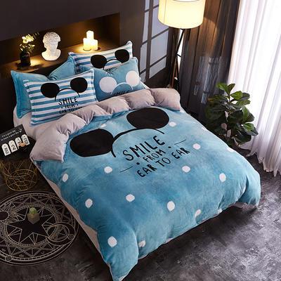 2018新款法莱绒卡通大版床单款床笠款四件套 床单款1.2m(4英尺)床 米奇点点