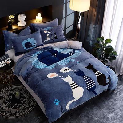 2018新款法莱绒卡通大版床单款床笠款四件套 床单款1.2m(4英尺)床 思念