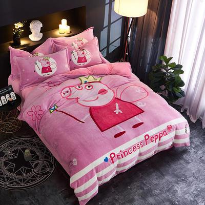 2018新款法莱绒卡通大版床单款床笠款四件套 床单款1.2m(4英尺)床 小猪佩奇