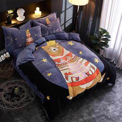 2018新款法莱绒卡通大版床单款床笠款四件套 床单款1.2m(4英尺)床 星雨心愿