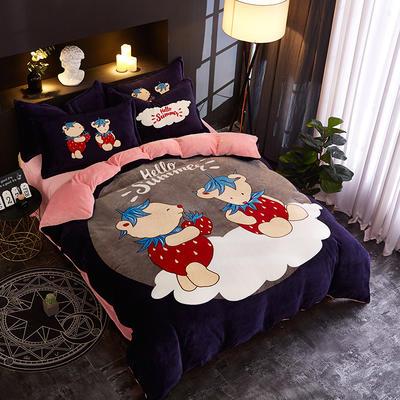 2018新款法莱绒卡通大版床单款床笠款四件套 床单款1.2m(4英尺)床 熊之恋