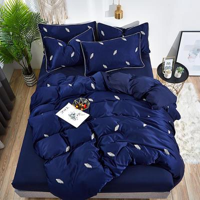 2019新款-水洗真丝刺绣四件套 1.5m(5英尺)床 羽毛-前程什锦