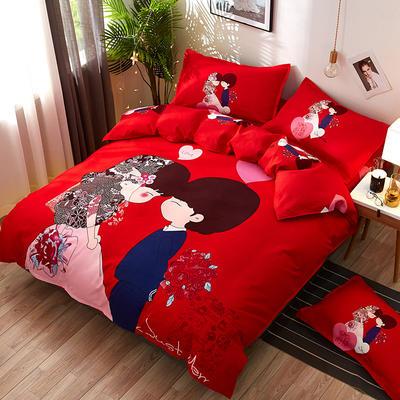2019新款-抖音网红款专版斜纹磨毛印花四件套-情侣款 1.5m(5英尺)床 结婚红