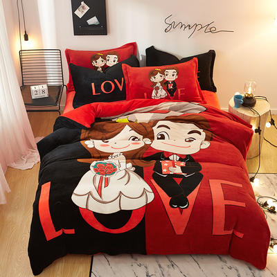 2019大版卡通法莱绒牛奶绒床单床笠情侣款四件套 床单款1.5m(5英尺)床 love