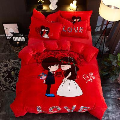 2019大版卡通法莱绒牛奶绒床单床笠情侣款四件套 床单款1.2m(4英尺)床 爱的告白