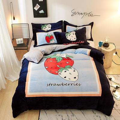 2019大版卡通法莱绒牛奶绒床单床笠情侣款四件套 床单款1.2m(4英尺)床 草莓羊