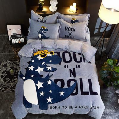 2019大版卡通法莱绒牛奶绒床单床笠情侣款四件套 床单款1.2m(4英尺)床 潮流一线