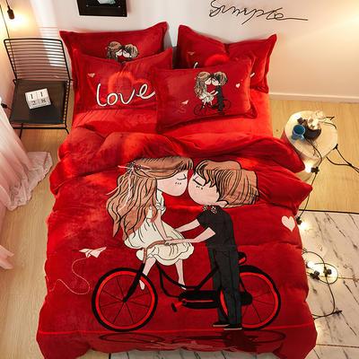 2019大版卡通法莱绒牛奶绒床单床笠情侣款四件套 床笠款小号1.2m(5英尺)床 单车恋人