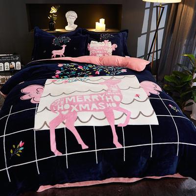 2019大版卡通法莱绒牛奶绒床单床笠情侣款四件套 床单款1.5m(5英尺)床 高情远致