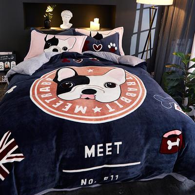 2019大版卡通法莱绒牛奶绒床单床笠情侣款四件套 床笠款小号1.2m(5英尺)床 黑白狗