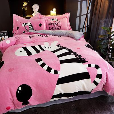 2019大版卡通法莱绒牛奶绒床单床笠情侣款四件套 床单款1.5m(5英尺)床 黑白之吻