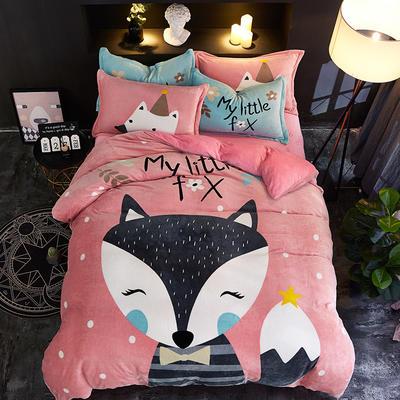 2019大版卡通法莱绒牛奶绒床单床笠情侣款四件套 床单款1.2m(4英尺)床 狐狸