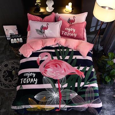 2019大版卡通法莱绒牛奶绒床单床笠情侣款四件套 床单款1.2m(4英尺)床 火鸟