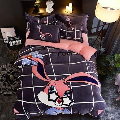 2019大版卡通法莱绒牛奶绒床单床笠情侣款四件套 床单款1.5m(5英尺)床 静如思楚