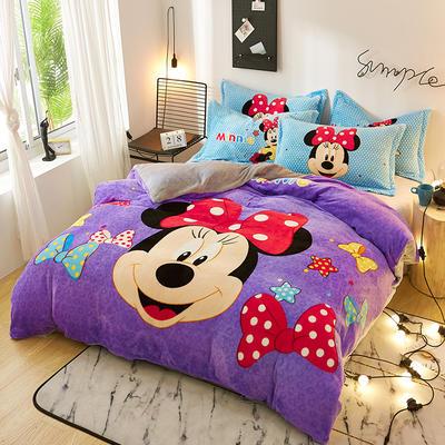 2019大版卡通法莱绒牛奶绒床单床笠情侣款四件套 床单款1.2m(4英尺)床 可爱米妮
