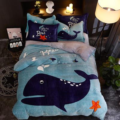 2019大版卡通法莱绒牛奶绒床单床笠情侣款四件套 床单款1.5m(5英尺)床 蓝鲸